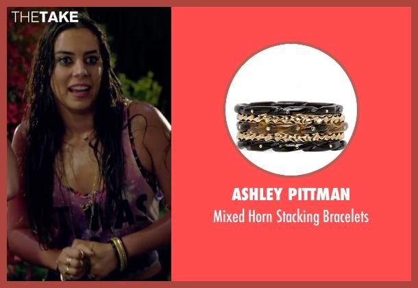 Ashley Pittman black bracelets from Knock Knock seen with Lorenza Izzo (Genesis)