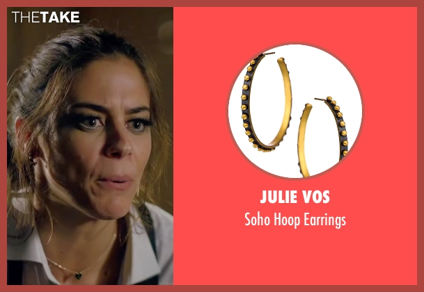 Julie Vos black earrings from Knock Knock seen with Lorenza Izzo (Genesis)