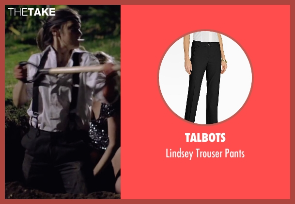Talbots black pants from Knock Knock seen with Lorenza Izzo (Genesis)