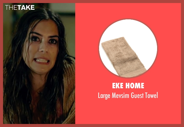 Eke Home brown towel from Knock Knock seen with Lorenza Izzo (Genesis)