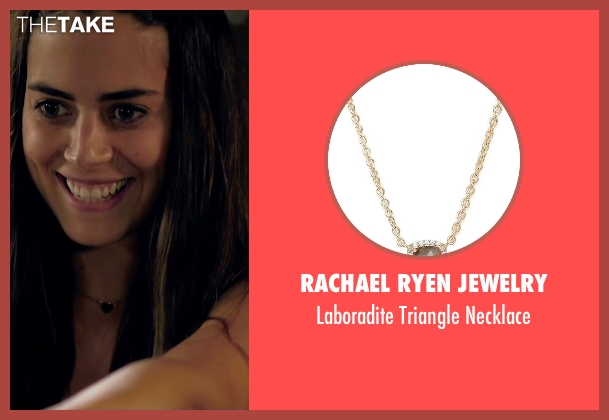 Rachael Ryen Jewelry gold necklace from Knock Knock seen with Lorenza Izzo (Genesis)