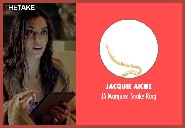 Jacquie Aiche gold ring from Knock Knock seen with Lorenza Izzo (Genesis)