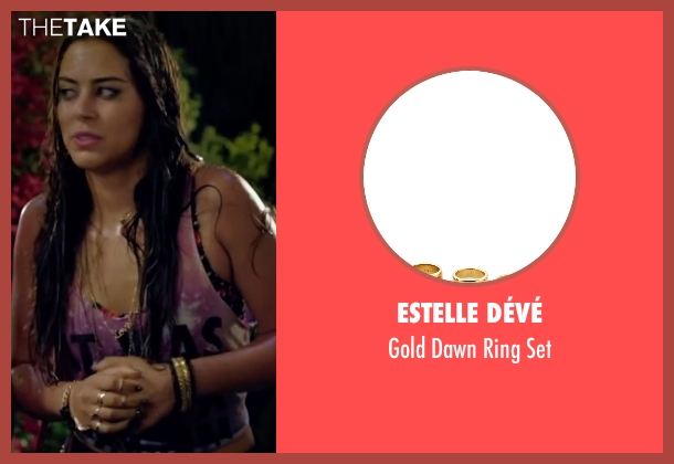 Estelle Dévé gold set from Knock Knock seen with Lorenza Izzo (Genesis)