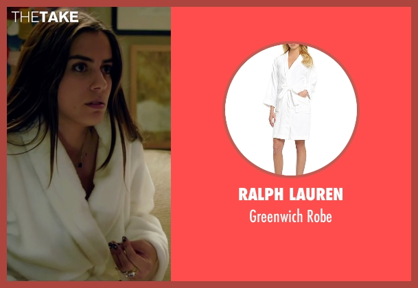 Ralph Lauren white robe from Knock Knock seen with Lorenza Izzo (Genesis)
