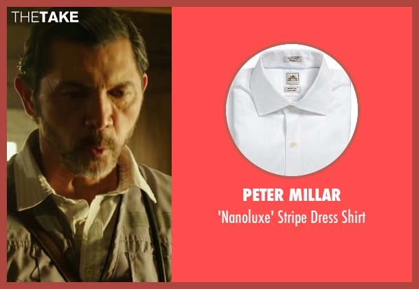 Peter Millar white shirt from The 33 seen with Lou Diamond Phillips (Luis Urzua 'Don Lucho')