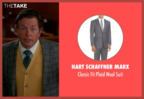 Hart Schaffner Marx gray suit from The Good Wife seen with Louis Canning (Michael J. Fox)