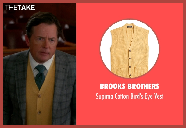 Brooks Brothers yellow vest from The Good Wife seen with Louis Canning (Michael J. Fox)