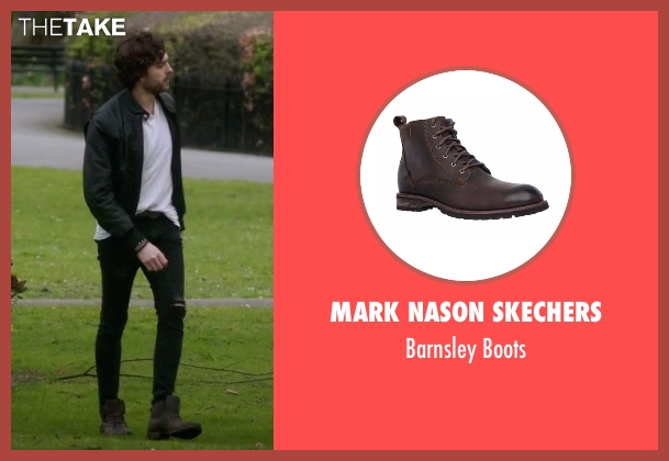 Mark Nason Skechers brown boots from Guilt seen with Luc Pascal (Zachary Fall)