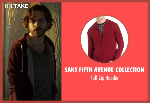 Saks Fifth Avenue Collection red hoodie from Guilt seen with Luc Pascal (Zachary Fall)