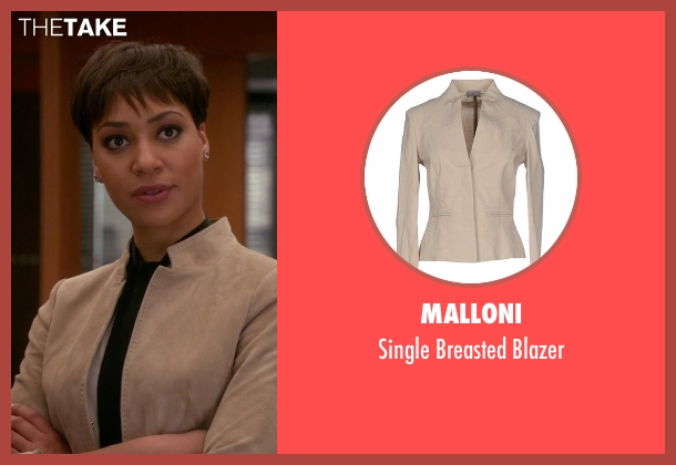 Malloni beige blazer from The Good Wife seen with Lucca Quinn  (Cush Jumbo)