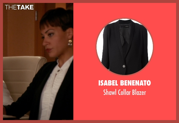 Isabel Benenato black blazer from The Good Wife seen with Lucca Quinn  (Cush Jumbo)