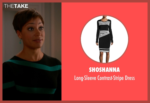 Shoshanna black dress from The Good Wife seen with Lucca Quinn  (Cush Jumbo)