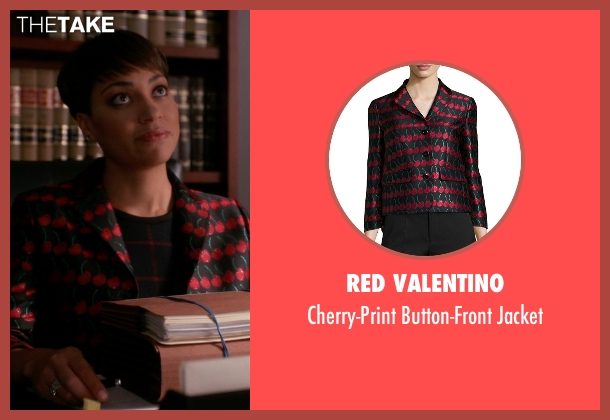 Red Valentino black jacket from The Good Wife seen with Lucca Quinn  (Cush Jumbo)