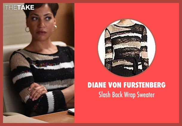 Diane Von Furstenberg black sweater from The Good Wife seen with Lucca Quinn  (Cush Jumbo)