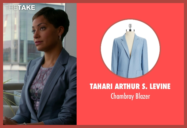 Tahari Arthur S. Levine blue blazer from The Good Wife seen with Lucca Quinn  (Cush Jumbo)