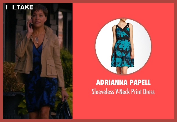 Adrianna Papell blue dress from The Good Wife seen with Lucca Quinn  (Cush Jumbo)