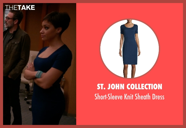 St. John Collection blue dress from The Good Wife seen with Lucca Quinn  (Cush Jumbo)