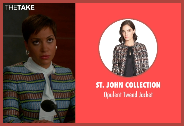St. John Collection blue jacket from The Good Wife seen with Lucca Quinn  (Cush Jumbo)