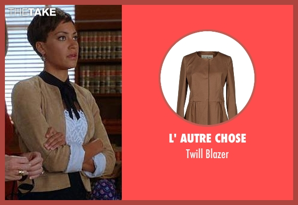 L' Autre Chose brown blazer from The Good Wife seen with Lucca Quinn  (Cush Jumbo)
