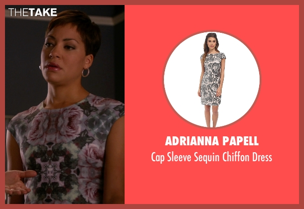 Adrianna Papell gray dress from The Good Wife seen with Lucca Quinn  (Cush Jumbo)