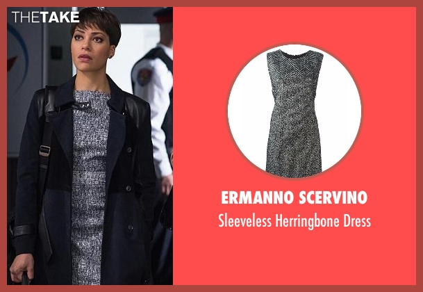 Ermanno Scervino gray dress from The Good Wife seen with Lucca Quinn  (Cush Jumbo)