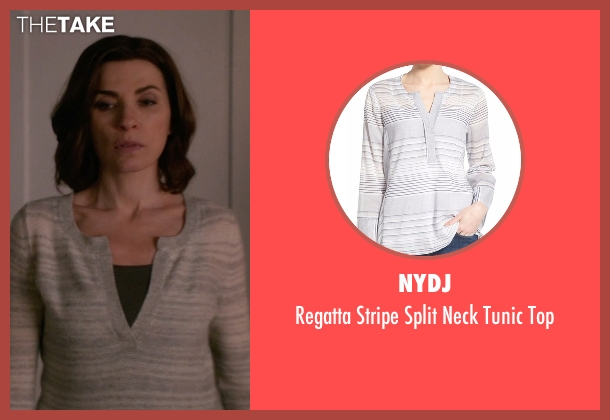NYDJ gray top from The Good Wife seen with Lucca Quinn  (Julianna Margulies)