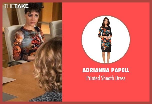 Adrianna Papell orange dress from The Good Wife seen with Lucca Quinn  (Cush Jumbo)