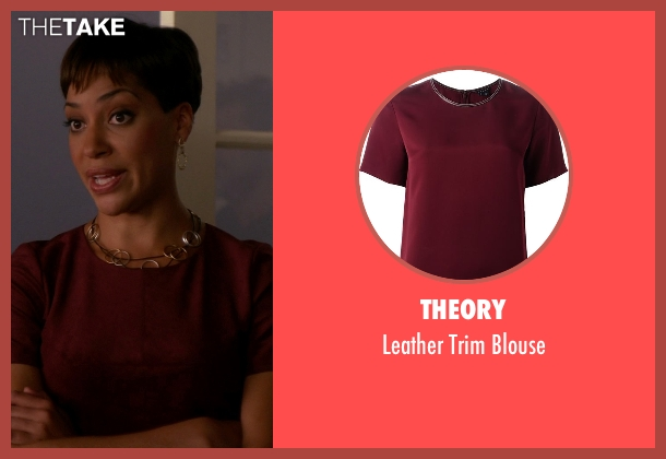 Theory red blouse from The Good Wife seen with Lucca Quinn  (Cush Jumbo)