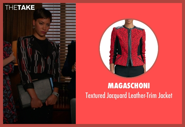Magaschoni	 red jacket from The Good Wife seen with Lucca Quinn  (Cush Jumbo)