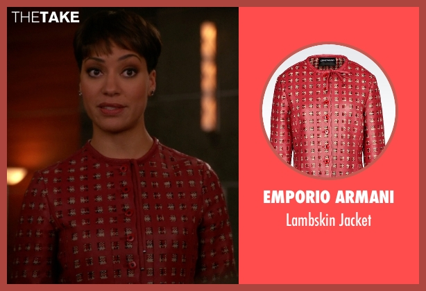Emporio Armani red jacket from The Good Wife seen with Lucca Quinn  (Cush Jumbo)