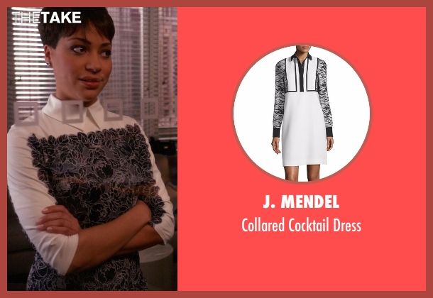J. Mendel white dress from The Good Wife seen with Lucca Quinn  (Cush Jumbo)