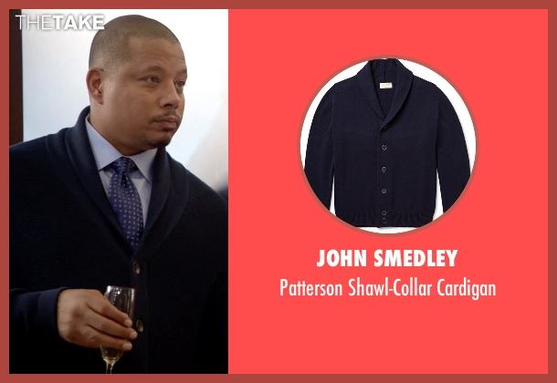 John Smedley blue cardigan from Empire seen with Lucious Lyon (Terrence Howard )