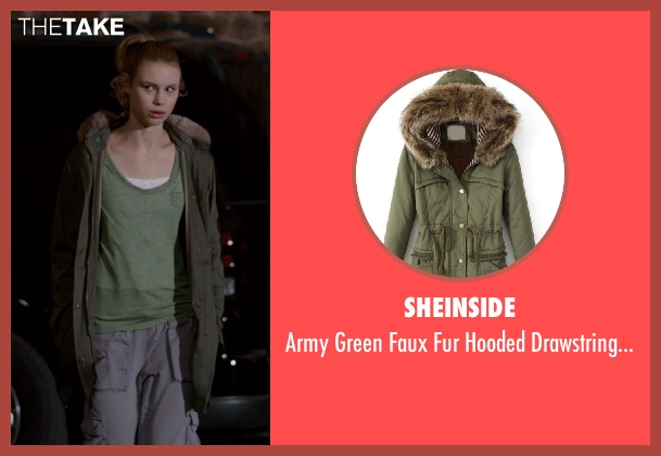 Sheinside green coat from Vampire Academy seen with Lucy Fry (Lissa Dragomir)