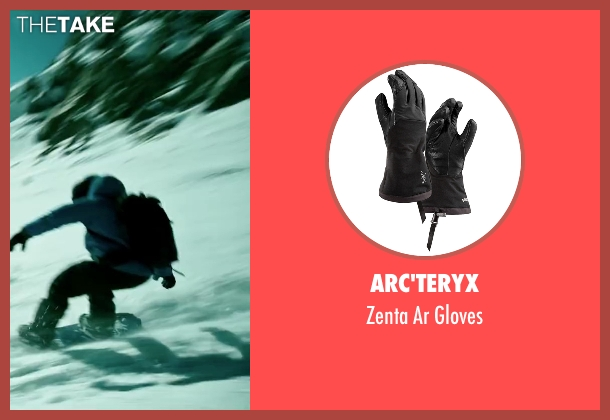 Arc'teryx black gloves from Point Break seen with Luke Bracey (Johnny Utah)