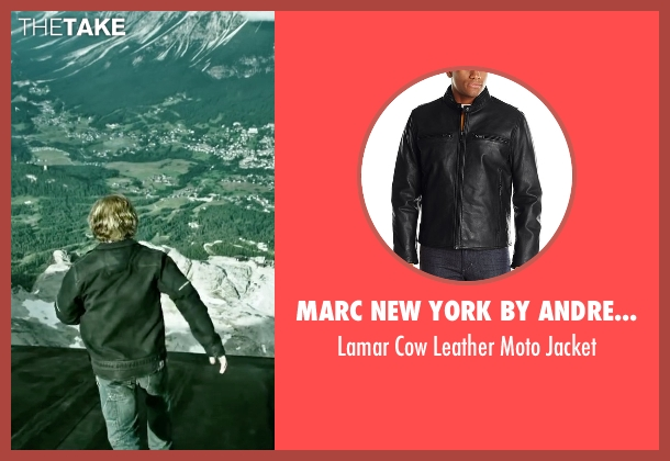 Marc New York By Andrew Marc black jacket from Point Break seen with Luke Bracey (Johnny Utah)