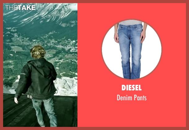 Diesel blue pants from Point Break seen with Luke Bracey (Johnny Utah)