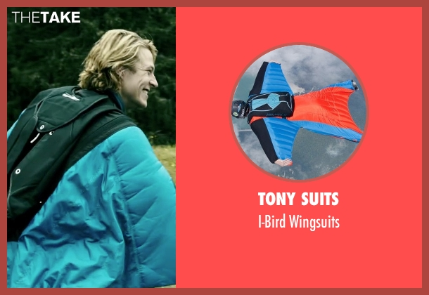 Tony Suits wingsuits from Point Break seen with Luke Bracey (Johnny Utah)