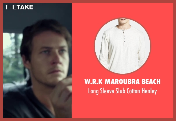 W.R.K Maroubra Beach blue henley from The November Man seen with Luke Bracey (David Mason)