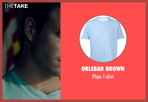 Orlebar Brown blue t-shirt from The November Man seen with Luke Bracey (David Mason)
