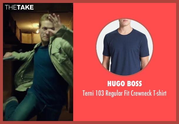 Hugo Boss blue t-shirt from The November Man seen with Luke Bracey (David Mason)