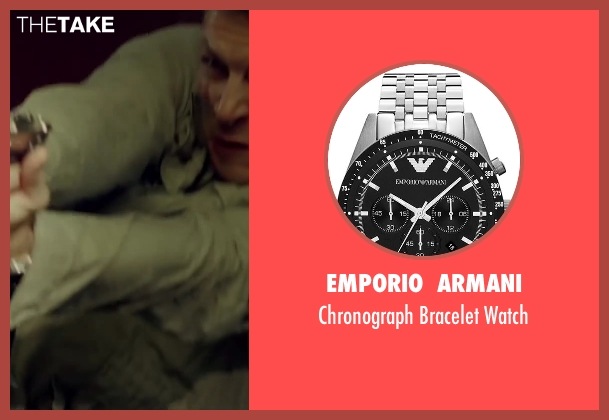 Emporio  Armani silver watch from The November Man seen with Luke Bracey (David Mason)