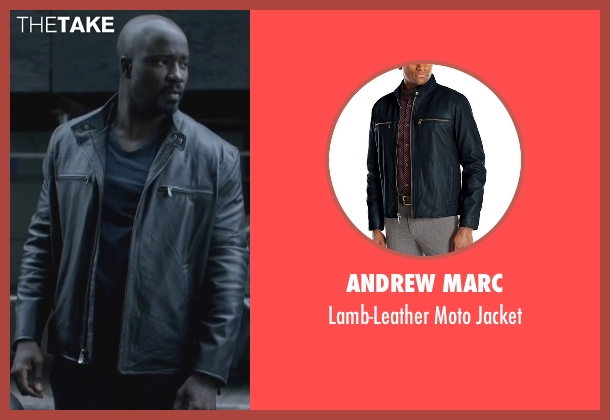 Andrew Marc black jacket from Jessica Jones seen with Luke Cage (Mike Colter)