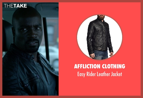Affliction Clothing black jacket from Jessica Jones seen with Luke Cage (Mike Colter)