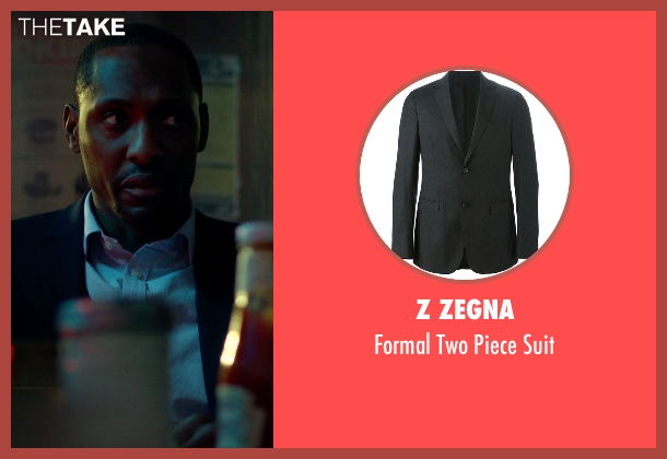 Z Zegna black suit from Jessica Jones seen with Luke Cage (Mike Colter)