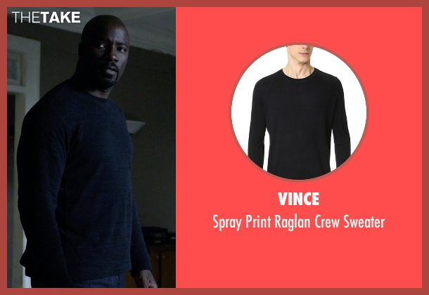 Vince black sweater from Jessica Jones seen with Luke Cage (Mike Colter)