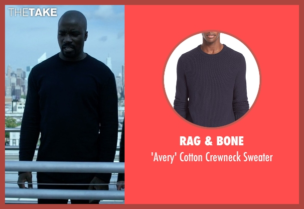 Rag & Bone blue crewneck sweater from Jessica Jones seen with Luke Cage (Mike Colter)