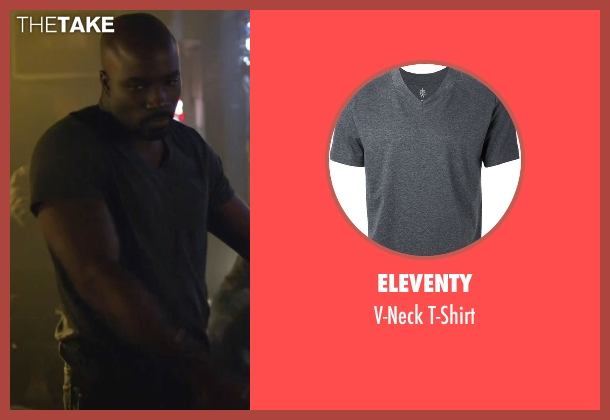 Eleventy gray t-shirt from Jessica Jones seen with Luke Cage (Mike Colter)