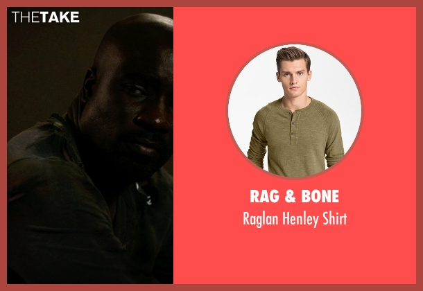 Rag & Bone green shirt from Jessica Jones seen with Luke Cage (Mike Colter)