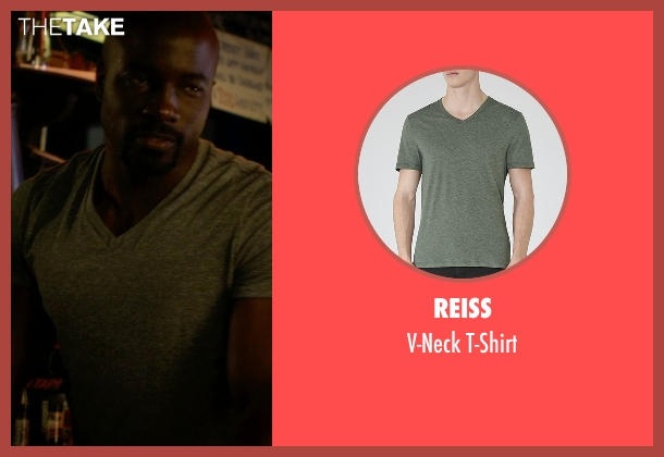 Reiss green t-shirt from Jessica Jones seen with Luke Cage (Mike Colter)
