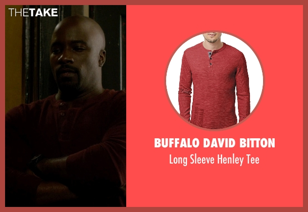 Buffalo David Bitton red tee from Jessica Jones seen with Luke Cage (Mike Colter)